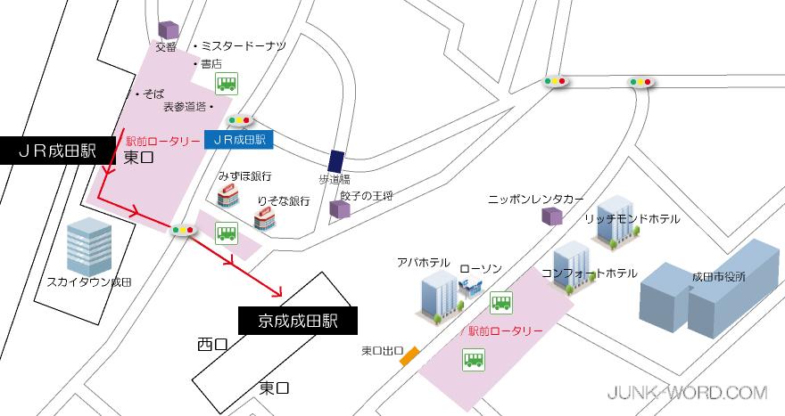 JR成田駅から京成成田駅乗り換え地図