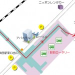 成田市役所までの行き方地図(京成成田駅東口歩道橋)